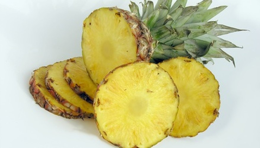 The interior of the pineapple fruit consists of juicy flesh.