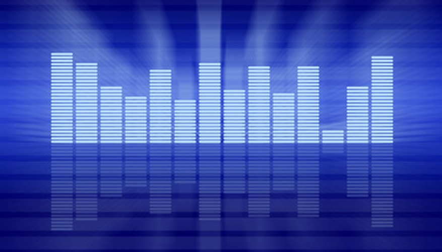 LED readouts from an equalizer show the presence of certain frequencies in a recording.