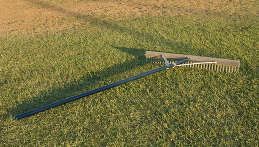 A typical landscape rake has short tines.