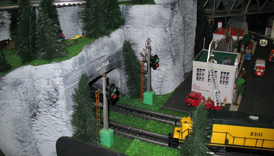 Mountains and tunnels like these can be created with foam sheets and plastercloth.