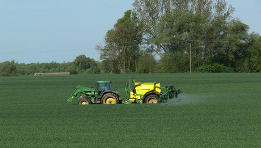 Pesticide applications on a farm.
