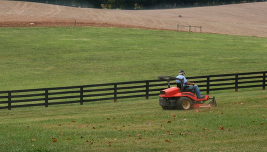 Riding lawnmowers are required for cutting large lawns.