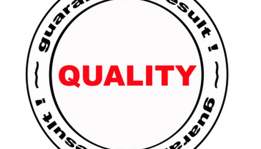 A quality control plan ensures a product reaches a specific standard.