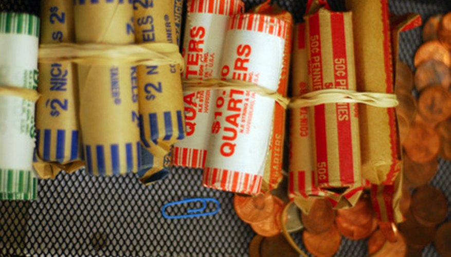 Rolled coins can be deposited into a bank or credit union account.