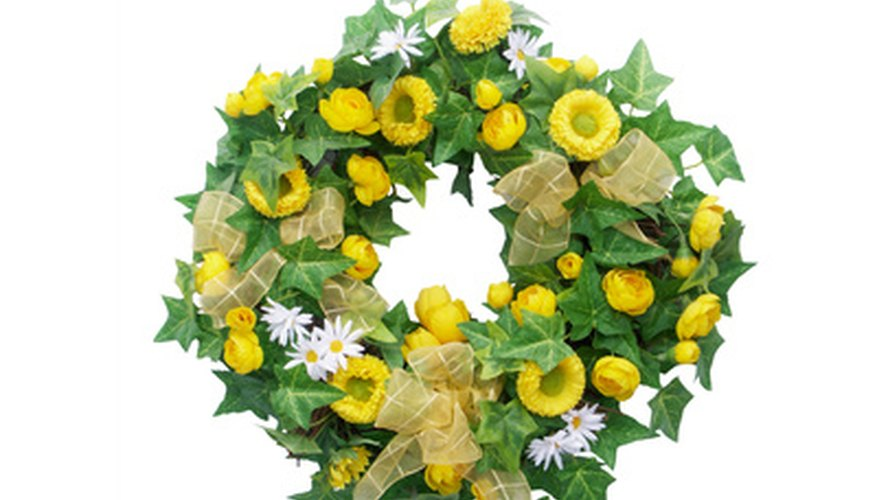 Use greenery and flowers for your wreath.