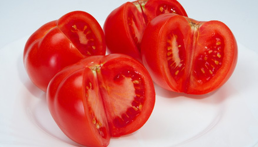 Tomato seeds are encased in a gel-like pulp.