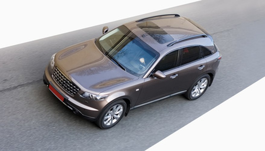 isolated luxury crossover suv car high speed