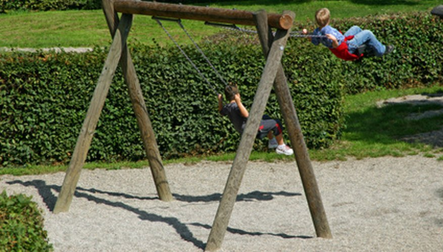 A simple wooden swing set.