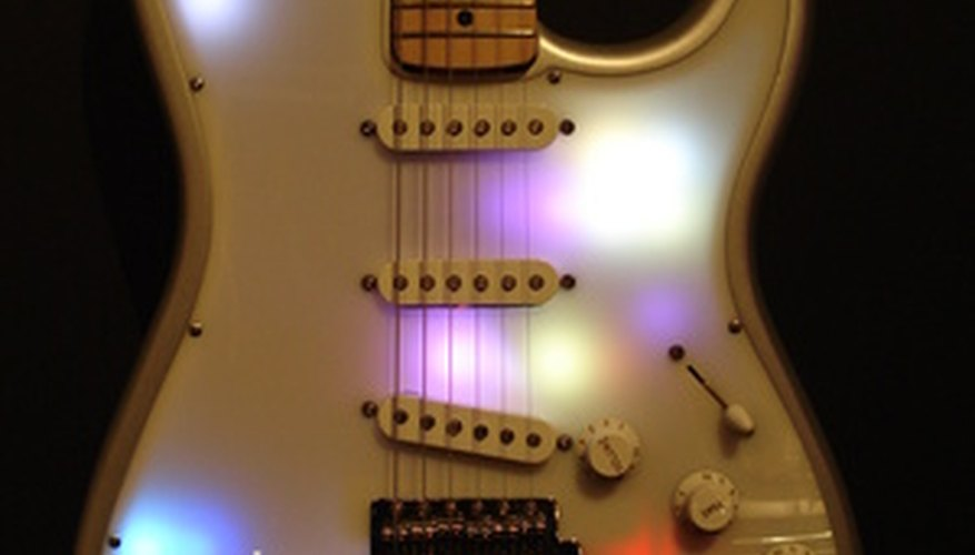 The Fender Stratocaster has one volume and two tone knobs.