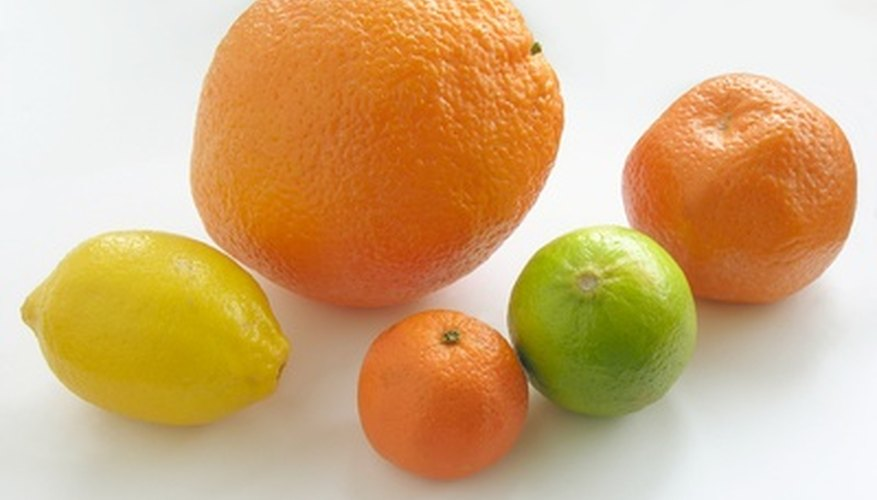 Citrus trees include oranges, lemons, limes, grapefruits and kumquats.