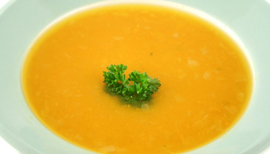 Pumpkin and spinach make a delicious soup.