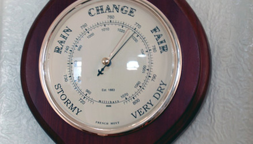 Barometer that reads barometric pressure in millimeters of mercury.