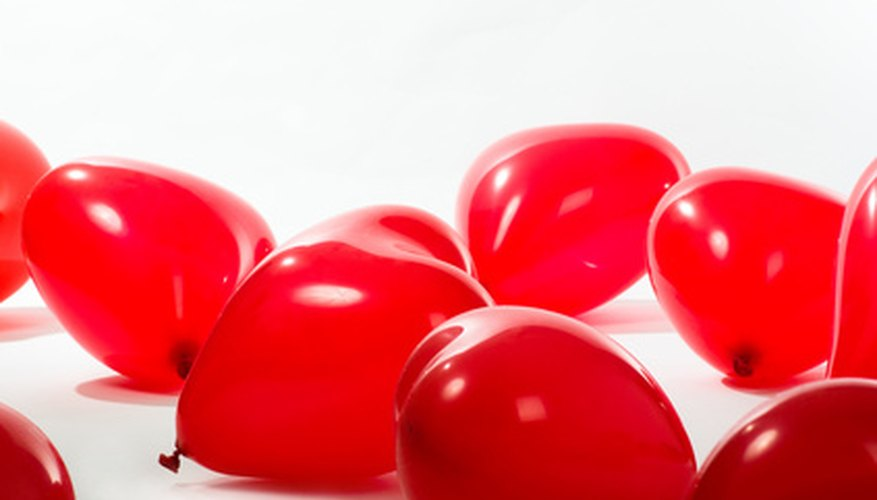Heart-shaped balloons in large quantities make an impact.