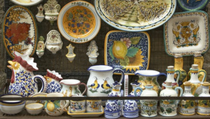 Assortment of Majolica pottery.