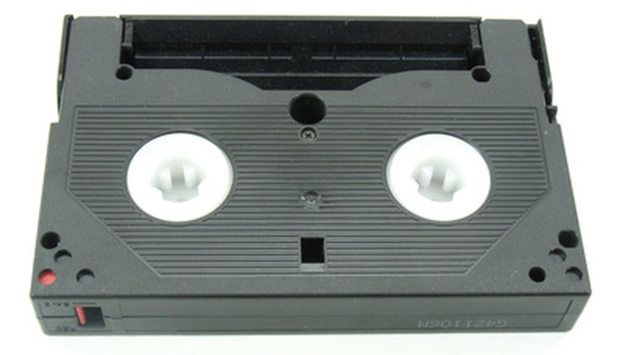This 8mm cassette is lying window-side down.