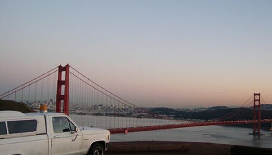 Golden Gate viewed from the truck