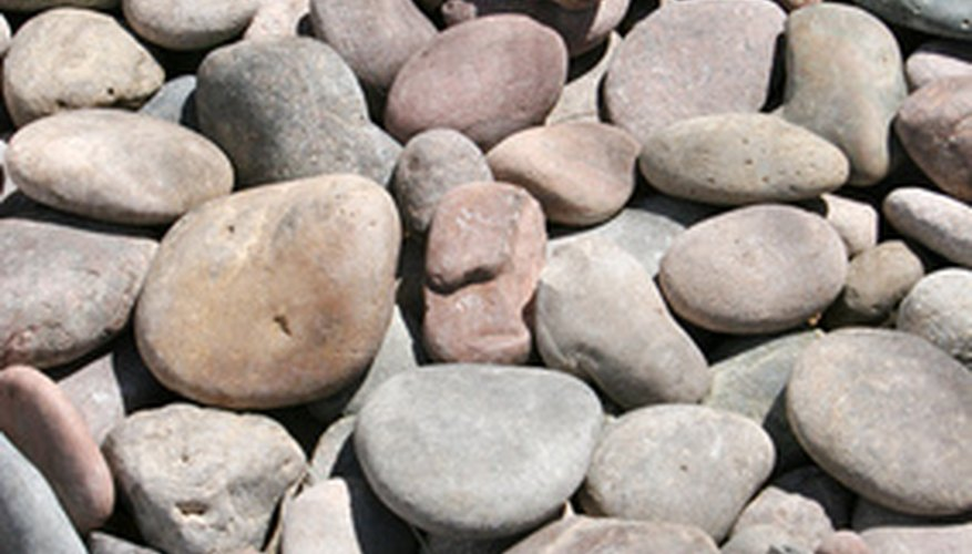 River rocks can create interesting landscaping designs.