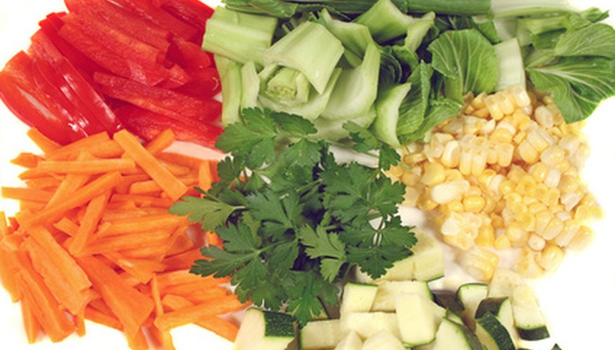 Bunches of fresh cut vegetables