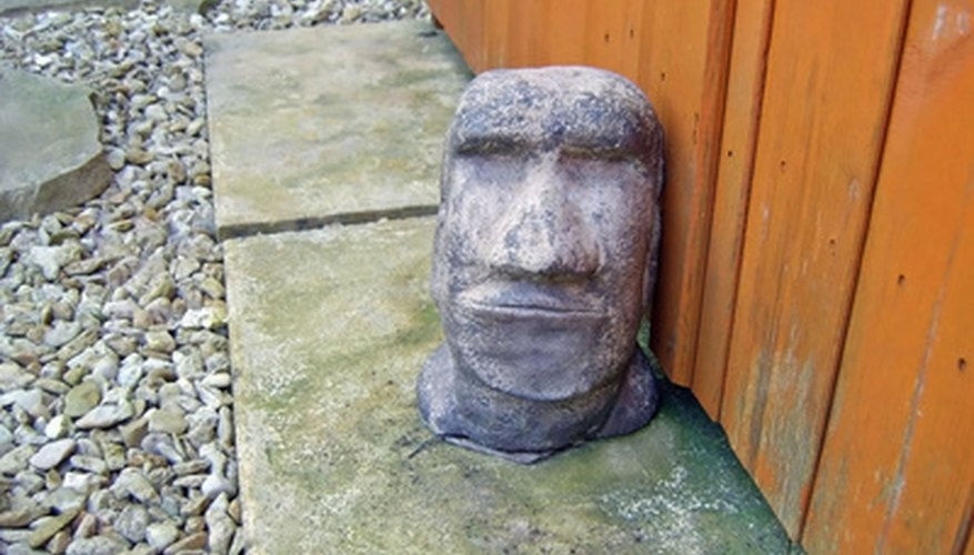 Statues like an Easter Island head are simple to make using hypertufa.