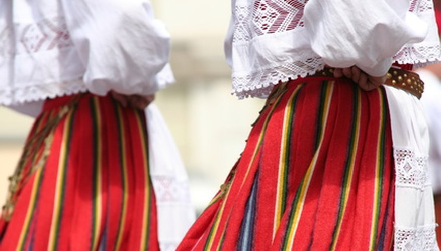 Bright, flowing clothing is often worn when dancing the traditional La Raspa.