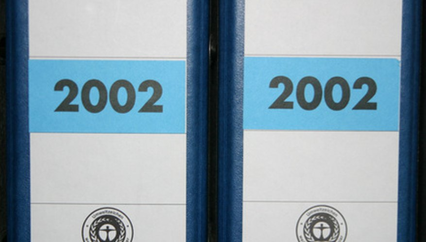 Binders can be labeled to reflect the relevant project and contents.