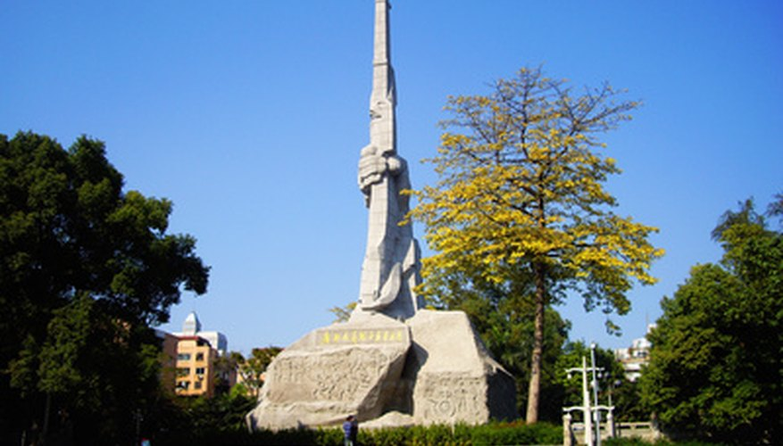 Chinese sights include this monument in Guangzhou.
