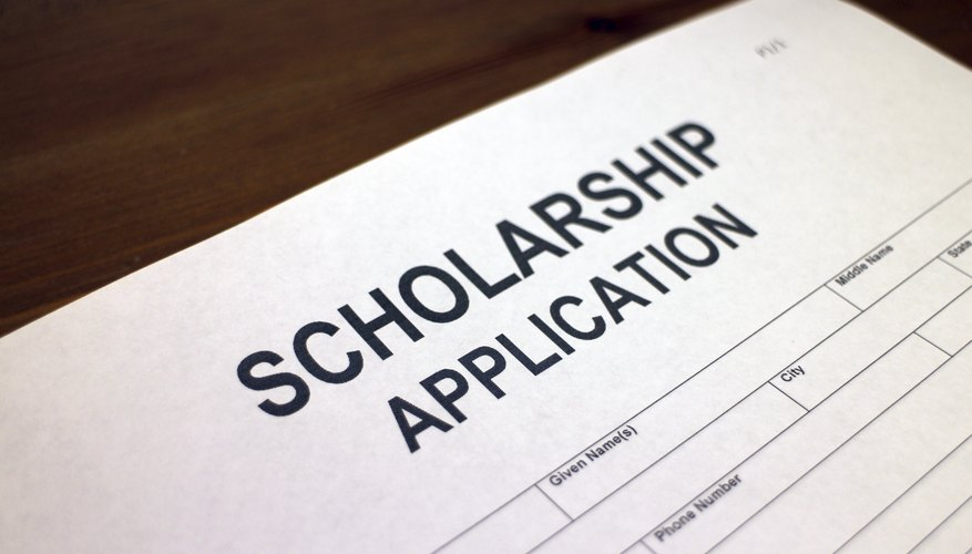 Close-up of scholarship application.
