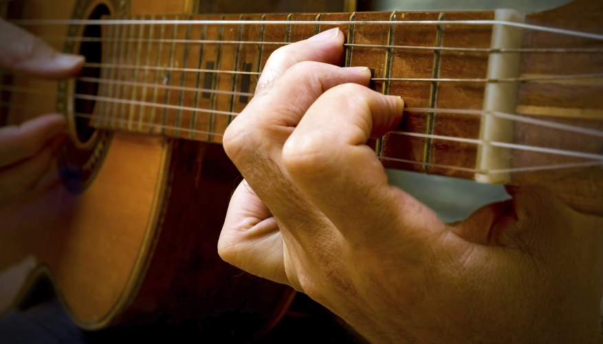 Close up of a Spanish guitar being played