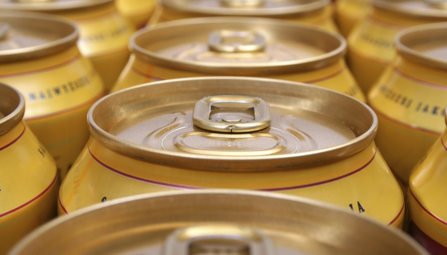Close-up of beer cans