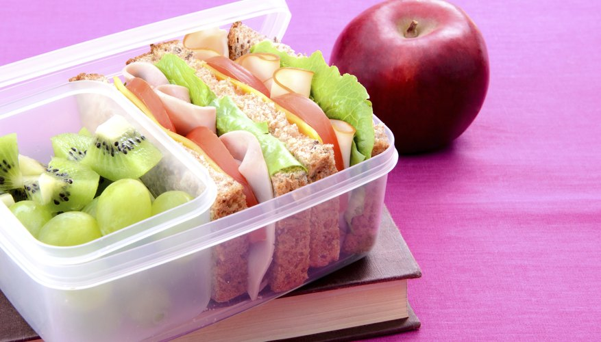 Healthy school lunch with book