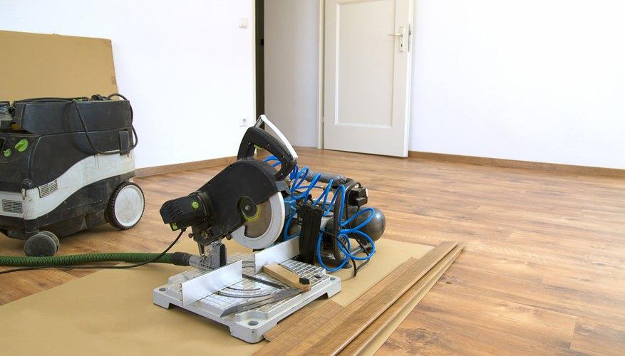 Miter saw on laminate floor