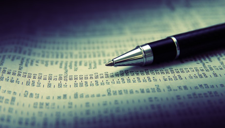 Close up of a pen sitting on the stock indices page of the newspaper