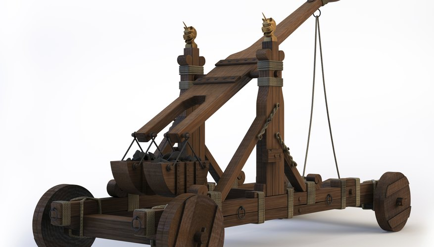 Traditionally catapults made use of ropes wound through gears to give them stored potential energy to hurl projectiles.