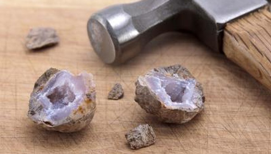 Cut open the geode with a wet-saw.