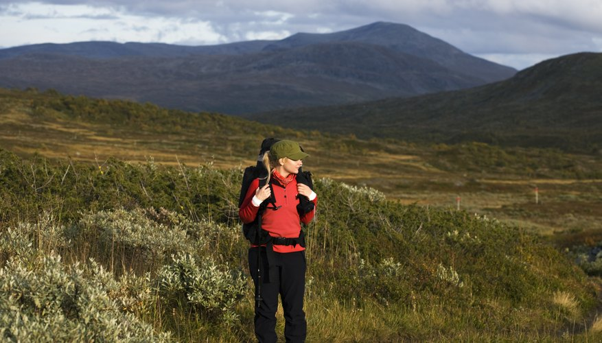 Woman hiking in Jamtland, Sweden
