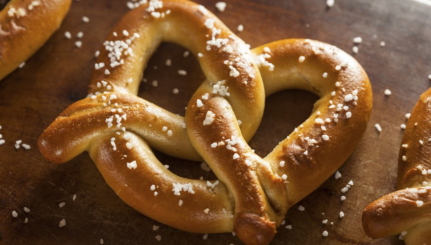 A close-up of a homemade soft pretzel.