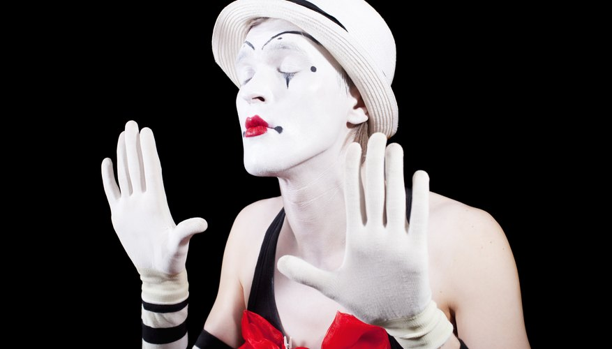 Mime with eyes closed