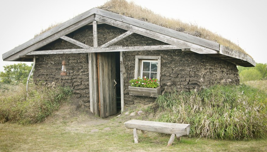 Sod house surrounded by plants
