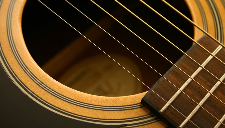 Close up of an acoustic guitar with steel strings