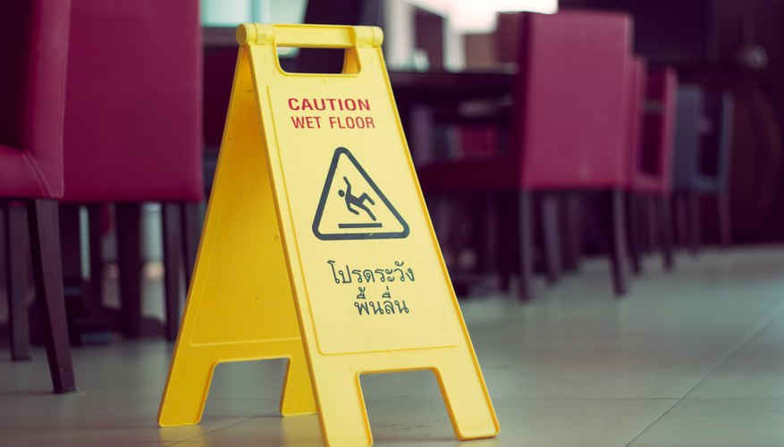 wet floor sign in dining room