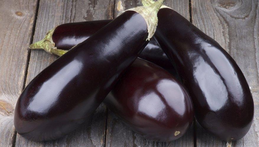 Eggplants on table.
