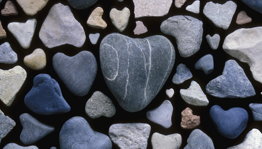 Assortment of heart shaped rocks