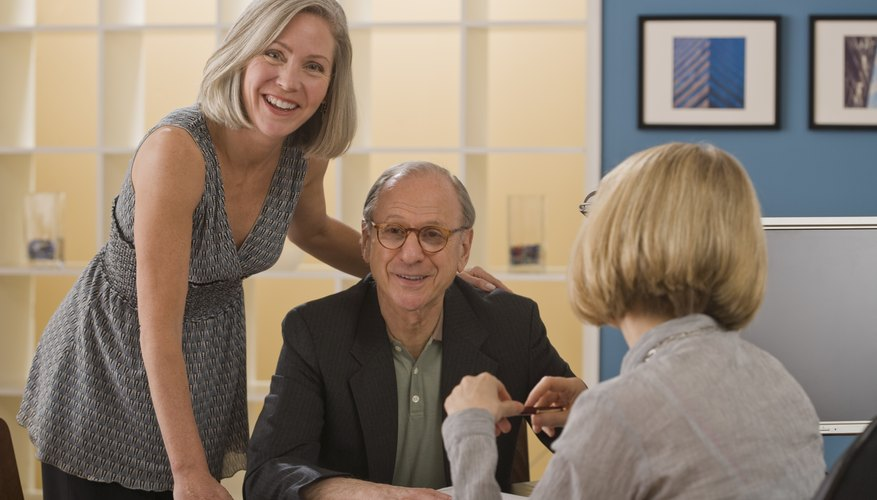 Senior couple getting advice.