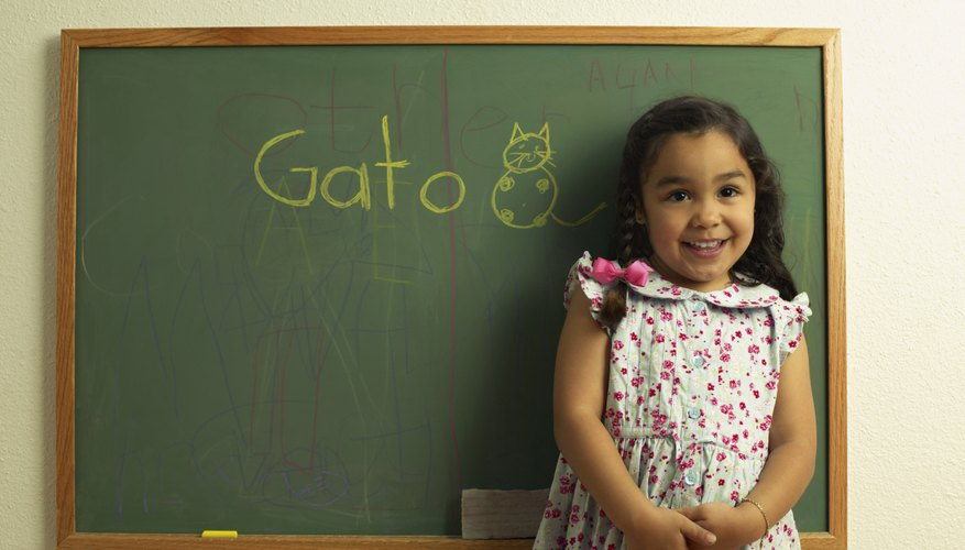 When a child learns two languages in childhood, it usually takes a while for her to be equally fluent in both.