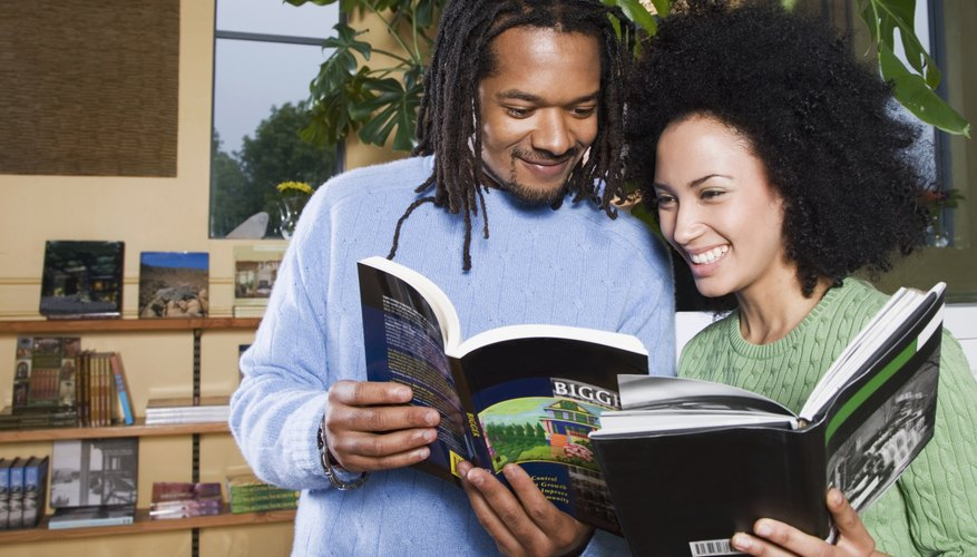 African couple reading books