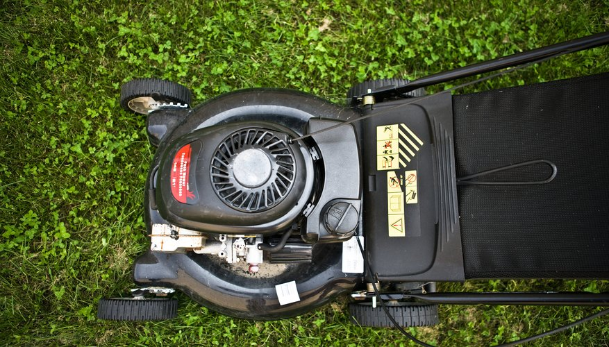 High angle view of lawnmower on grass