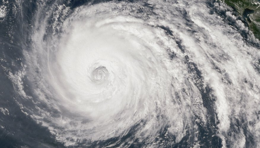An aerial view of an eye of a typhoon.