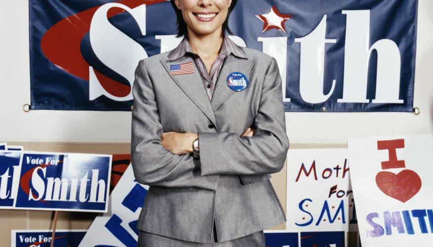 Woman Standing in an Election Campaign Office