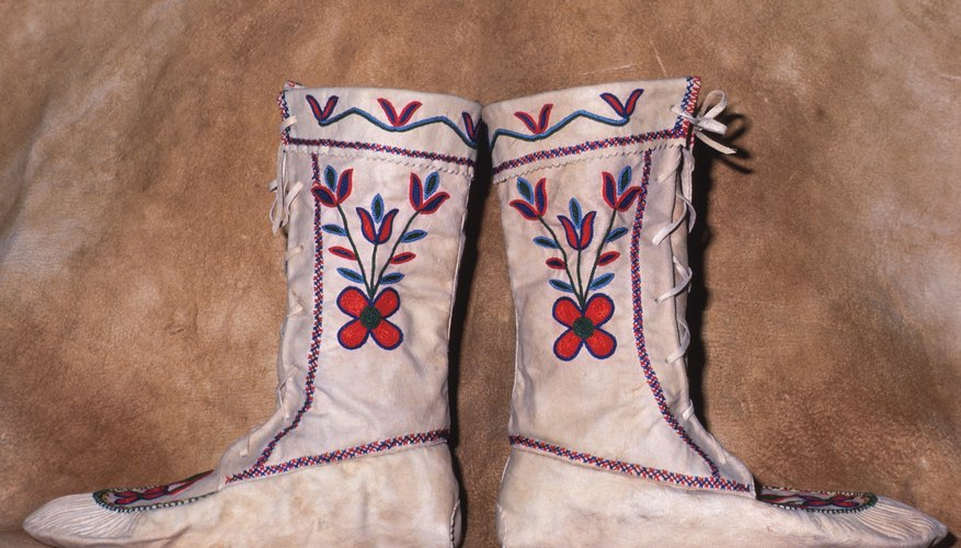 Kids can make paper moccasins that emulate the original Apache Indian version.