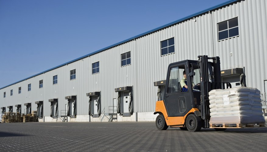 Forklift in front of loading area